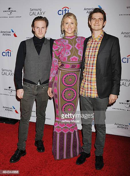 Musicians Elijah Edwards Megan McAllister and Mason Van Valin of the band Fairground Saints attend the Universal Music Group 2015 Post GRAMMY Party...