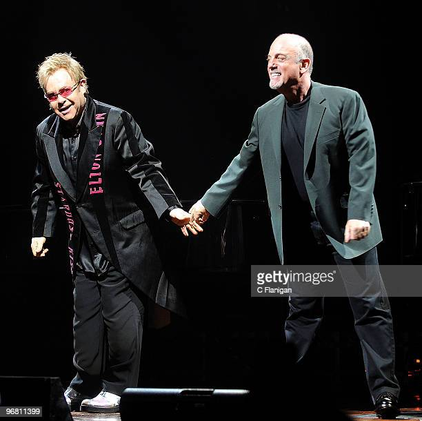 Musicians Elton John and Billy Joel perform at the HP Pavilion on February 16 2010 in San Jose California