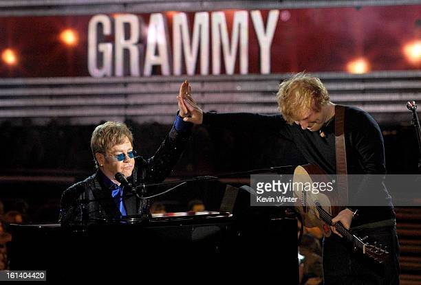 Musicians Elton John and Ed Sheeran perform onstage during the 55th Annual GRAMMY Awards at STAPLES Center on February 10 2013 in Los Angeles...
