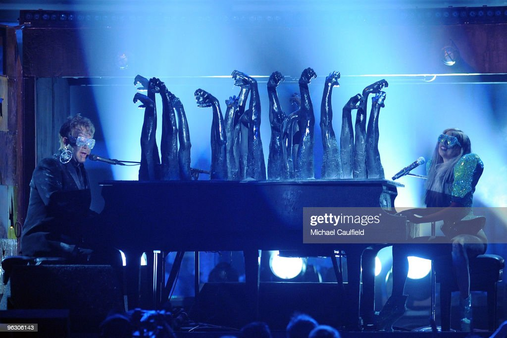 Musicians Elton John and Lada Gaga Perform onstage at the 52nd Annual GRAMMY Awards held at Staples Center on January 31, 2010 in Los Angeles, California.