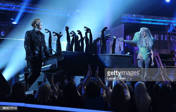 Musicians Elton John and Lada Gaga perform onstage at the 52nd Annual GRAMMY Awards held at Staples Center on January 31 2010 in Los Angeles...