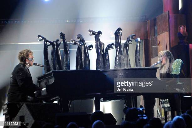 Musicians Elton John and Lady GaGa perform onstage during the 52nd Annual GRAMMY Awards held at Staples Center on January 31, 2010 in Los Angeles,...