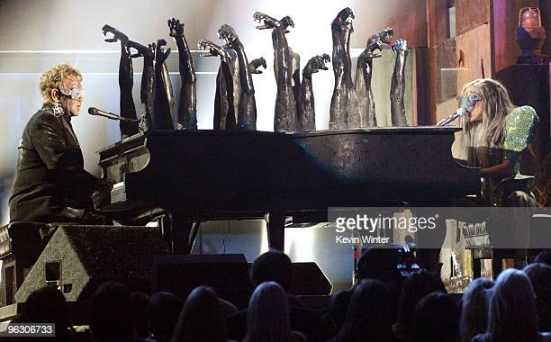 Musicians Elton John and Lady Gaga perform onstage during the 52nd Annual GRAMMY Awards held at Staples Center on January 31 2010 in Los Angeles...