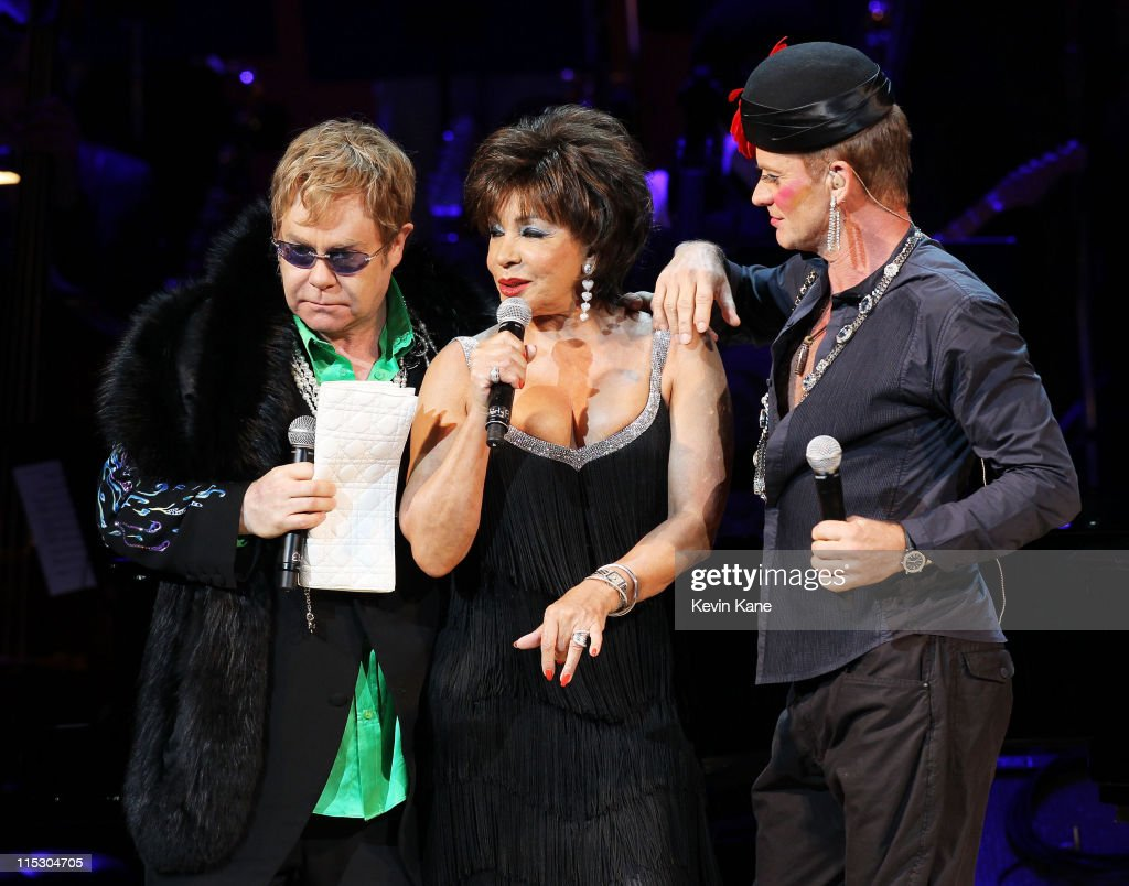 Musicians Elton John, Dame Shirley Bassey and Sting perform on stage during the Almay concert to celebrate the Rainforest Fund's 21st birthday at Carnegie Hall on May 13, 2010 in New York City.