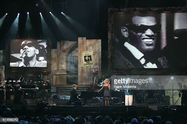 Musicians Elton John Mary J Blige and David Fathead Newman perform Is The Right Time onstage at CBS' Ray Charles Tribute Concert at the Staples...