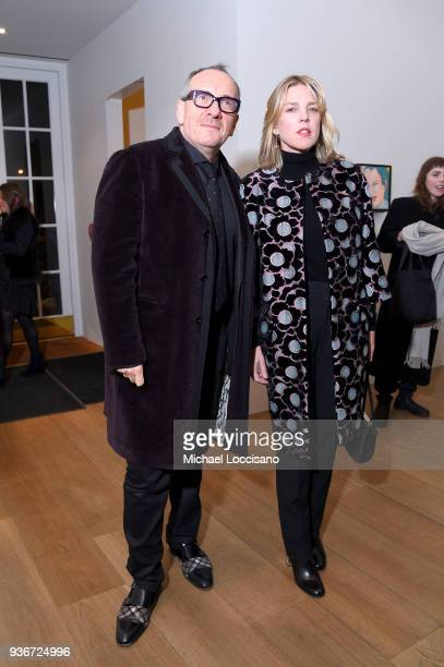 Musicians Elvis Costello and Diana Krall attend the 'Final Portrait' New York Screening After Party at Levy Gorvy Gallery on March 22 2018 in New...