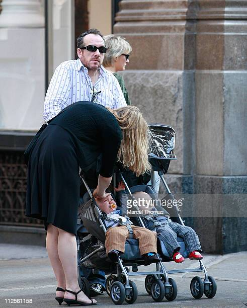 Musicians Elvis Costello and wife Diana Krall sighting strolling in Chelsea with their twin sons Dexter Henry Lorcan and Frank Harlan James on...