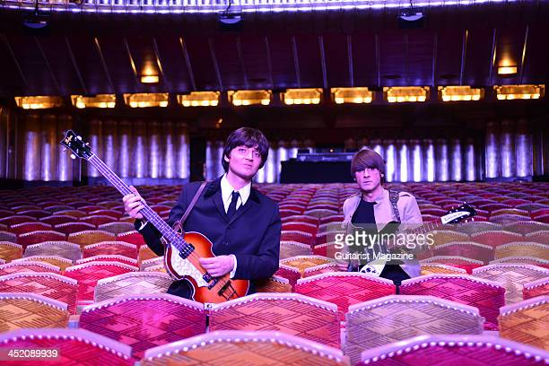 Musicians Emanuele Angeletti and Michael Gagliano dressed as Paul McCartney and John Lennon as part of the Let It Be musical at the Savoy Theatre in...