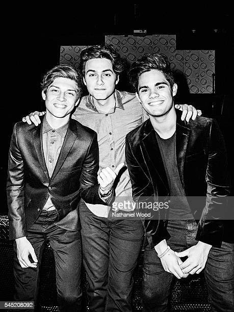 Musicians Emery Kelly Ricky Garcia and Liam Attridge of Forever in Your Mind are photographed for TeenVoguecom on March 14 2016 in Los Angeles...