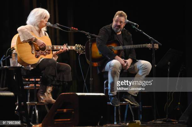 Musicians Emmylou Harris and Vince Gill perform onstage at the Country Music Hall of Fame and Museum's 'All for the Hall' Benefit on February 12 2018...