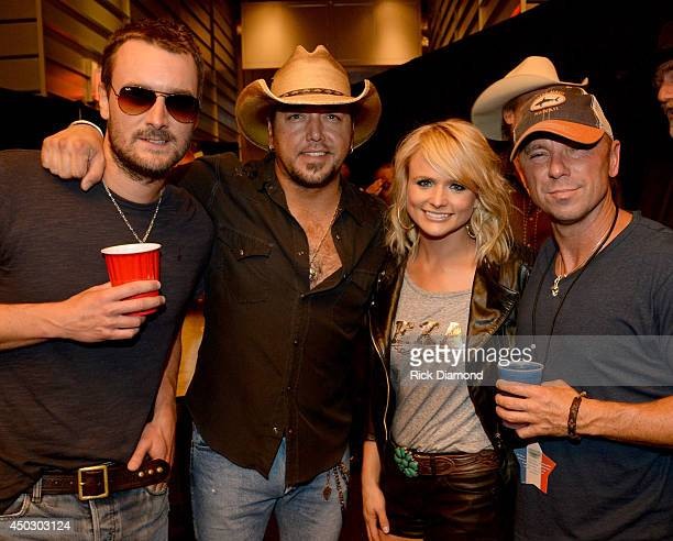 Musicians Eric Church Jason Aldean Miranda Lambert and Kenny Chesney backstage at George Strait's 'The Cowboy Rides Away Tour' final stop at ATT...