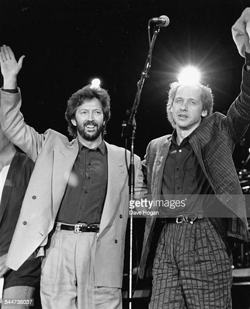 Musicians Eric Clapton and Mark Knopfler on stage at the Nelson Mandela 70th Birthday Tribute Concert at Wembley Stadium London June 11th 1988