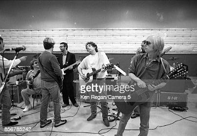 Musicians Eric Clapton Bob Dylan and Tom Petty are photographed behind the scenes at the Bob Dylan 30th Anniversary Tribute Concert on October 16...
