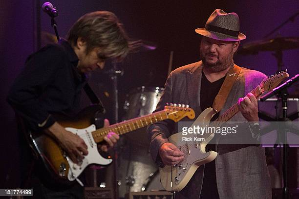 Musicians Eric Johnson and Christopher Cross perform on stage during the first annual ALL ATX concert at ACL Live on September 24 2013 in Austin Texas