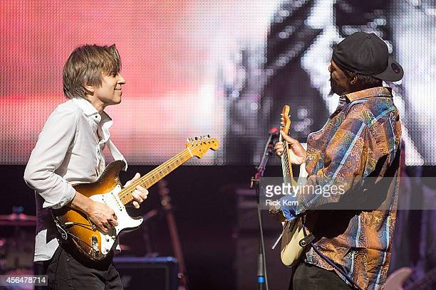 Musicians Eric Johnson and Eric Gales perform as part of Experience Hendrix at ACL Live on September 30 2014 in Austin Texas