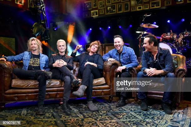 Musicians Eric Kretz Jeff Gutt Dean DeLeo Ted Stryker and Robert DeLeo attend a live taping of ATT AUDIENCE Network Music Series at Red Studios on...