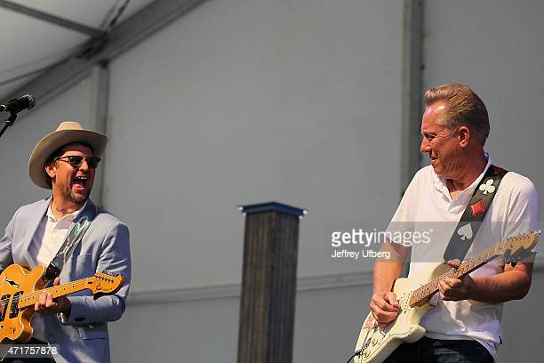 Musicians Eric Lindell and Anson Funderburgh perform at New Orleans Jazz Heritage Festival at Fair Grounds Race Course on April 30 2015 in New...