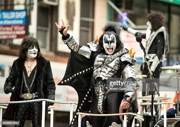 Musicians Eric Singer Gene Simmons and Tommy Thayer of KISS attend the 88th Annual Macys Thanksgiving Day Parade at on November 27 2014 in New York...