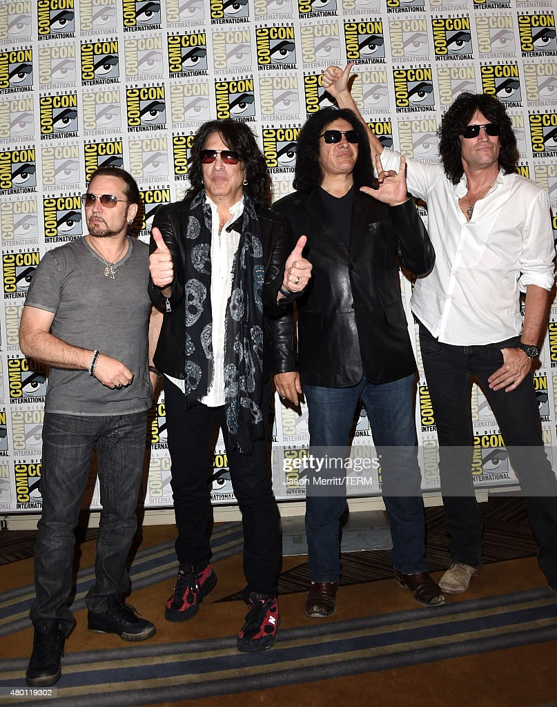 Musicians Eric Singer, Paul Stanley, Gene Simmons and Tommy Thayer of Kiss attend the Scooby-Doo! and Kiss: Rock and Roll Mystery Press Room during Comic-Con International 2015 at the at Hilton Bayfront on July 9, 2015 in San Diego, California.