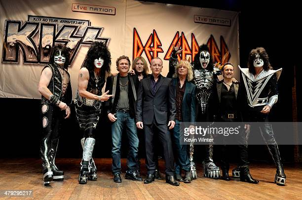 Musicians Eric Singer Paul Stanley Rick Allen Joe Elliott Phil Collen Rick Savage Gene Simmons Vivian Campbell and Tommy Thayer of KISS and Def...