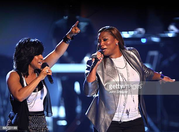Musicians Erica Campbell of Mary Mary and Queen Latifah onstage at the 2009 BET Awards at the Shrine Auditorium on June 28 2009 in Los Angeles...