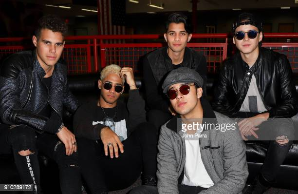 Musicians Erick Colon, Zabdiel De Jesus, Christopher Velez, Joel Pimentel and Richard Camacho of the band CNCO visit The Enrique Santos Show At The I...