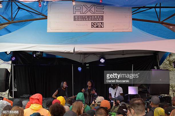 Musicians Erika Reynolds Jessika Reynolds and Auston Reynolds of James Davis perform at the AXE White Label Collective Party powered by SPIN at SXSW...