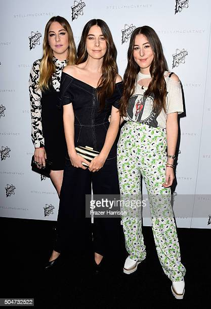 Musicians Este Haim Danielle Haim and Alana Haim attend Stella McCartney Autumn 2016 Presentation at Amoeba Music on January 12 2016 in Los Angeles...