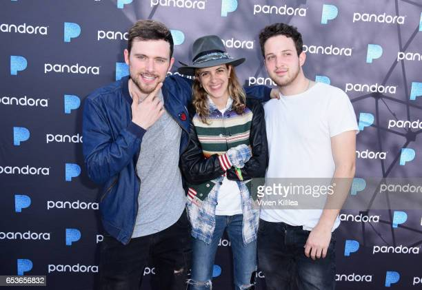 Musicians Ethan Thompson Samantha Ronson and Pete Nappi of Ocean Park Standoff perform onstage during Pandora at SXSW 2017 on March 15 2017 in Austin...