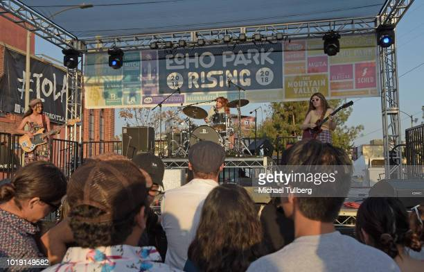 Musicians Eva Chambers Anastasia Sanchez and Isabelle Fields of Pinky Pinky perform during Day Three of Echo Park Rising 2018 on August 18 2018 in...