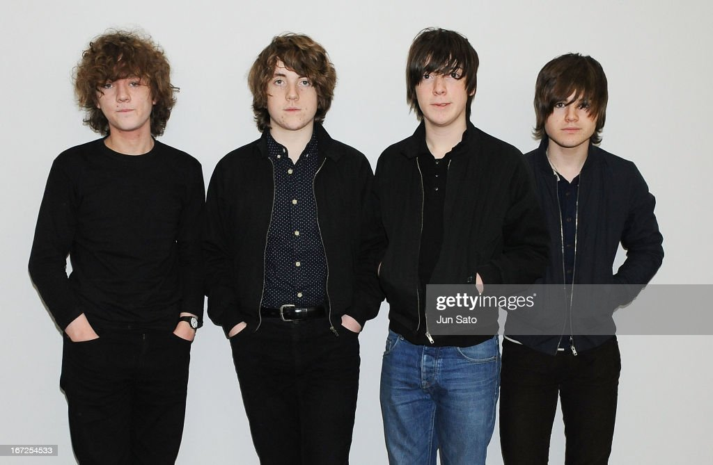 Musicians Evan Walsh, Pete O'Hanlon, Ross Farrelly and Josh McClorey of the Strypes pose for a photograph at Narita International Airport on April 23, 2013 in Narita, Japan.