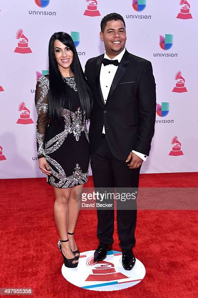 Musicians Evelyn Herrera and Juan Carlos Rodriguez of Tercer Cielo attends the 16th Latin GRAMMY Awards at the MGM Grand Garden Arena on November 19...