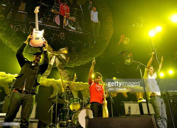 Musicians Ezra Koenig Chris Tomson Chris Baio and Rostam Batmanglij of Vampire Weekend perform onstage at 2010 KROQ Almost Acoustic Christmas held at...