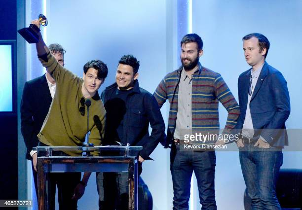 Musicians Ezra Koenig Rostam Batmanglij Chris Tomson and Chris Baio of Vampire Weekend accept the Best Alternative Music Album award for 'Modern...