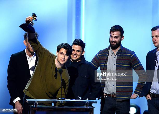 Musicians Ezra Koenig Rostam Batmanglij Chris Tomson and Chris Baio of Vampire Weekend onstage during the 56th GRAMMY Awards PreTelecast at Nokia...