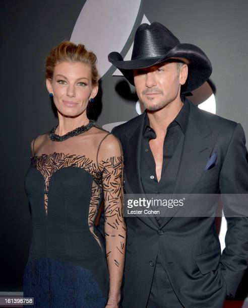 Musicians Faith Hill and Tim McGraw attend the 55th Annual GRAMMY Awards at STAPLES Center on February 10 2013 in Los Angeles California