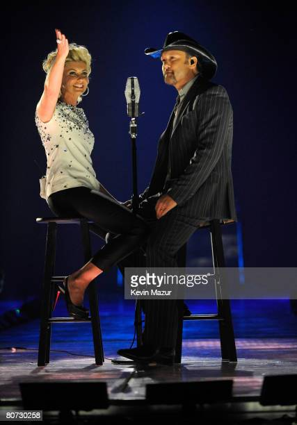 Musicians Faith Hill and Tim McGraw onstage during the 2008 CMT Music Awards at the Curb Event Center at Belmont University on April 14, 2008 in New...
