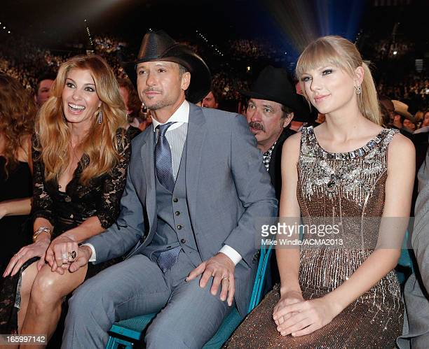 Musicians Faith Hill Tim McGraw and Taylor Swift attend the 48th Annual Academy of Country Music Awards at the MGM Grand Garden Arena on April 7 2013...
