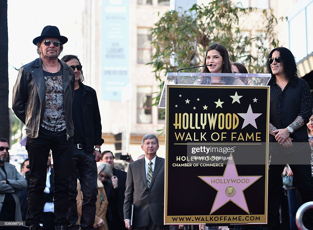 Musicians Fher Olvera, Juan Calleros, Sergio Vallin, actress America Ferrera and musician Alex Gonzalez attend a ceremony honoring Maná with the 2,573rd Star on the Hollywood Walk of Fame on February 10, 2016 in Hollywood, California.