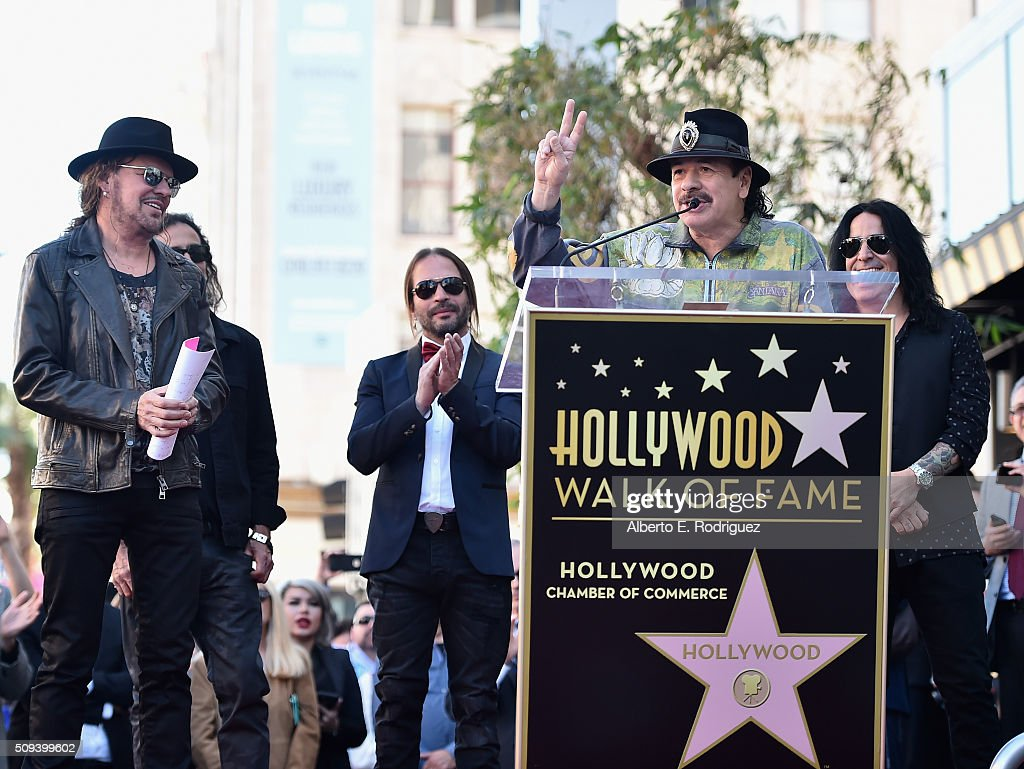Musicians Fher Olvera, Juan Calleros, Sergio Vallin, Carlos Santana and Alex Gonzalez attend a ceremony honoring Maná with the 2,573rd Star on the Hollywood Walk of Fame on February 10, 2016 in Hollywood, California.