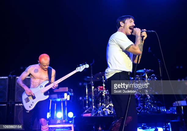 Musicians Flea and Anthony Kiedis of Red Hot Chili Peppers perform onstage during the Malibu Love Sesh Benefit Concert at Hollywood Palladium on...