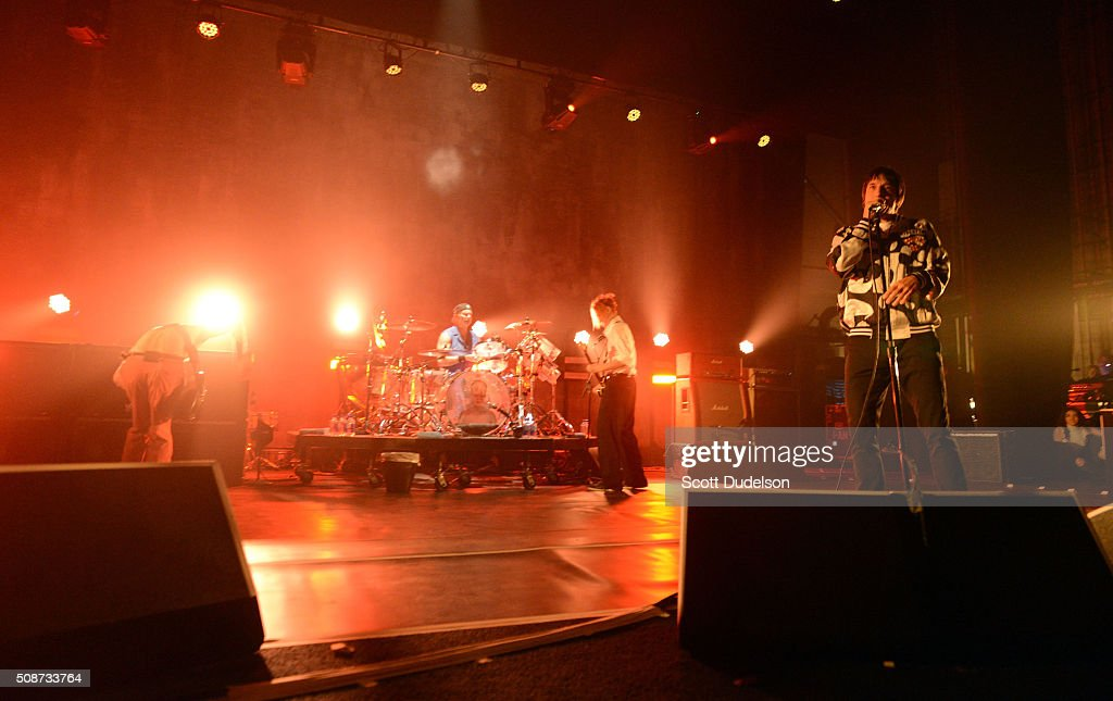Musicians Flea, Chad Smith, Josh Klinghoffer and Anthony Kiedis of the Red Hot Chili Peppers perform onstage during the 'Feel the Bern' fundraiser for Presidential candidate Bernie Sanders at the Ace Theater Downtown LA on February 5, 2016 in Los Angeles, California.
