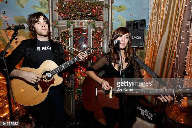 Musicians Foley Stewart and Nicole Atkins attend the Annual Holiday Party at Foley Corinna on December 17 2009 in New York City