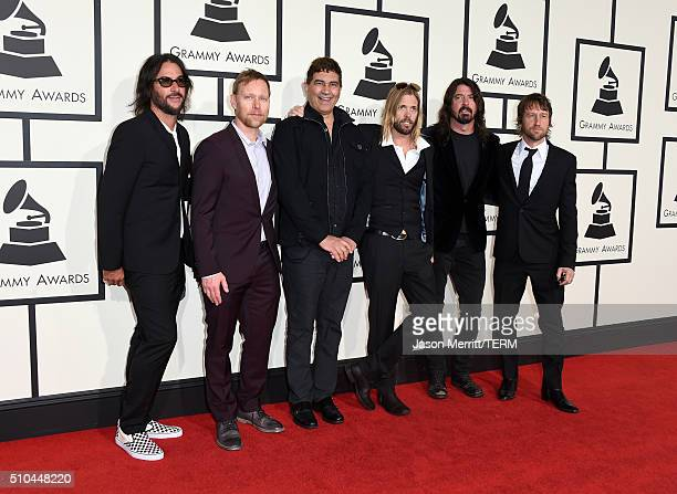 Musicians Franz Stahl, Nate Mendel, Pat Smear, Taylor Hawkins, Dave Grohl, and Chris Shiflett of Foo Fighters attend The 58th GRAMMY Awards at...
