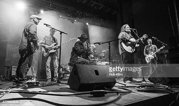Musicians Fred Mitchum Ronnie Leatherman Tommy Hall Roky Erickson and Eli Southard of the 13th Floor Elevators perform onstage during Day 3 of...