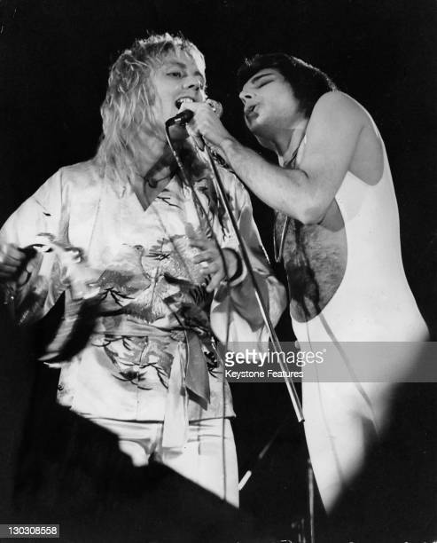 Musicians Freddie Mercury and Roger Taylor of British rock band Queen perform a free concert in London's Hyde Park 18th September 1976