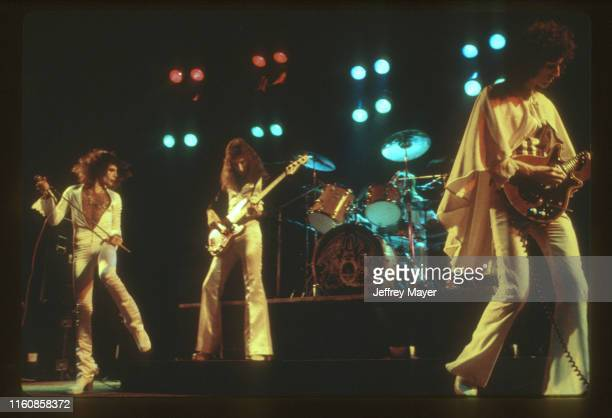 Musicians Freddie Mercury, John Deacon, Roger Taylor and Brian May of Queen perform in concert on March 2, 1977 at The Forum in Inglewood, California.