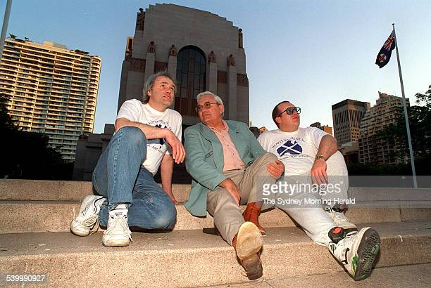 Musicians from Dunblane Scotland in Australia to record a song to help the families of victims of the April 1996 Port Arthur massacre From left Ted...