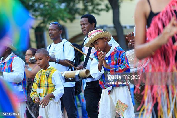 Musicians from group for traditional folklore of Martinique on parade