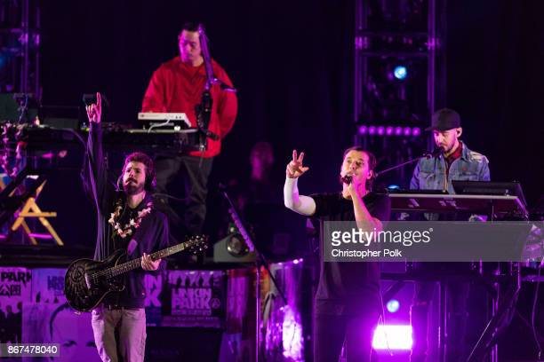 Musicians from Linkin Park Brad Delsen Mike Shinoda and Joe Hahn perform with Gavin Rossdale of the band 'Bush' during the 'Linkin Park And Friends...